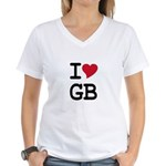 Great Britain Heart Women's V-Neck T-Shirt