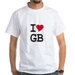 Great Britain Heart White T-Shirt