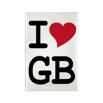 Great Britain Heart Rectangle Magnet (10 pack)