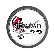 Heart New Dad Wall Clock