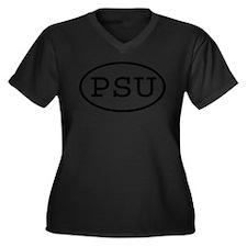 PSU Oval Women's Plus Size V-Neck Dark T-Shirt
