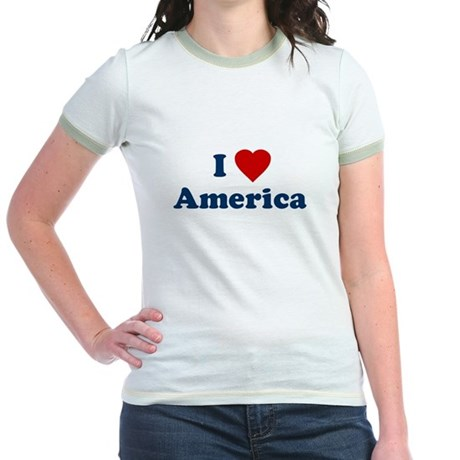 I Love [Heart] America Jr Ringer T-Shirt