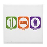 Eat Sleep Trains Tile Coaster