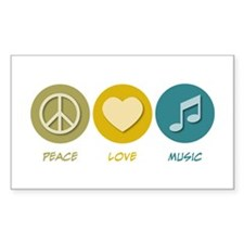 Peace Love Music Rectangle Decal