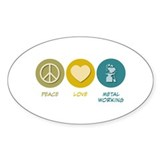 Peace Love Metal Working Oval Sticker (50 pk)
