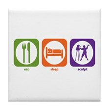 Eat Sleep Sculpt Tile Coaster