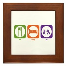 Eat Sleep PR Framed Tile