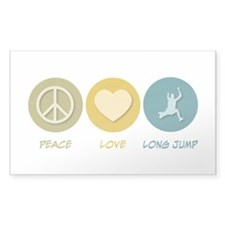 Peace Love Long Jump Rectangle Sticker 10 pk)