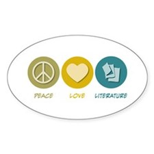 Peace Love Literature Oval Decal