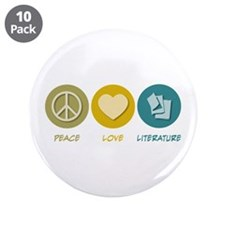 "Peace Love Literature 3.5"" Button (10 pack)"