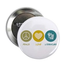 "Peace Love Literature 2.25"" Button"