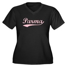 Vintage Parma (Pink) Women's Plus Size V-Neck Dark
