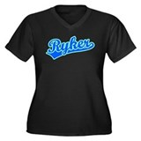 Retro Ryker (Blue) Women's Plus Size V-Neck Dark T