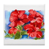 Red Hibiscus Tile Coaster