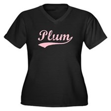 Vintage Plum (Pink) Women's Plus Size V-Neck Dark