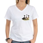 Crested Ducks Trio Women's V-Neck T-Shirt