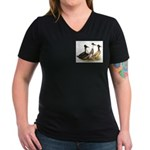 Crested Ducks Trio Women's V-Neck Dark T-Shirt