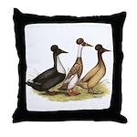Crested Ducks Trio Throw Pillow