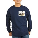 Crested Ducks Trio Long Sleeve Dark T-Shirt