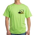 Crested Ducks Trio Green T-Shirt