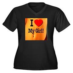 I Love My Girl! Women's Plus Size V-Neck Dark T-Sh