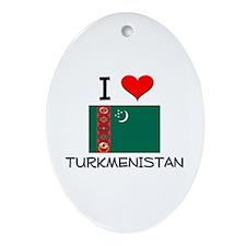 I Love Turkmenistan Oval Ornament