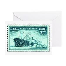 Merchant Marine Military Stamp Greeting Cards (Pk
