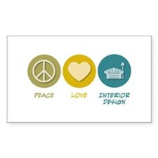 Peace Love Interior Design Rectangle Sticker 10 p