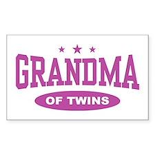 Grandma of Twins Rectangle Decal