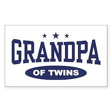 Grandpa of Twins Rectangle Decal