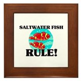 Saltwater Fish Rule! Framed Tile