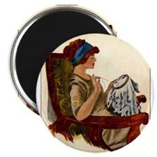 "Flapper with Embroidery Hoop 2.25"" Magnet (10 pack"