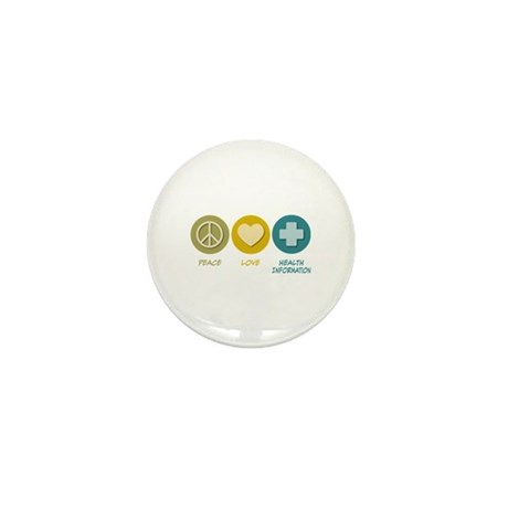 Peace Love Health Information Mini Button (100 pac