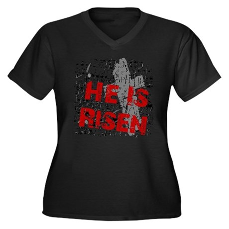 He is Risen Women's Plus Size V-Neck Dark T-Shirt