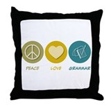 Peace Love Grammar Throw Pillow