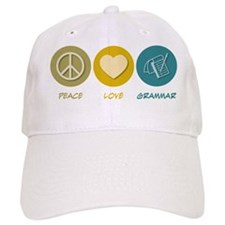 Peace Love Grammar Baseball Cap