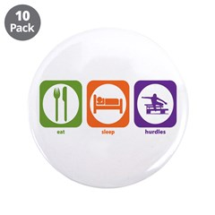 "Eat Sleep Hurdles 3.5"" Button (10 pack)"