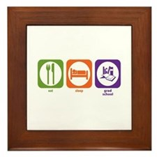 Eat Sleep Grad School Framed Tile