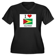 I Love Guyana Women's Plus Size V-Neck Dark T-Shir