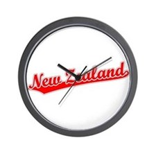 Retro New Zealand (Red) Wall Clock