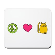 Peace Love Cats - Funny Cat Mousepad