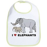 I Love Elephants Bib