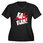 KABLAM! Women's Plus Size V-Neck Dark T-Shirt