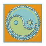 Paisley Yin & Yang : Blue & Green Tile Coaster