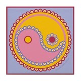 Paisley Yin & Yang : Red, Pink & Yellow Tile Coast