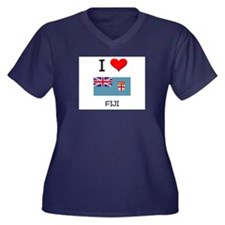 I Love Fiji Women's Plus Size V-Neck Dark T-Shirt
