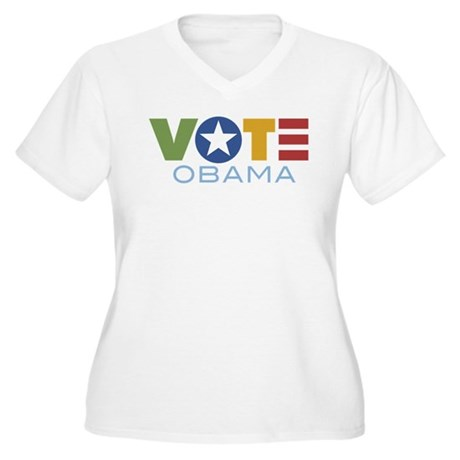 Vote Obama Women's Plus Size V-Neck T-Shirt
