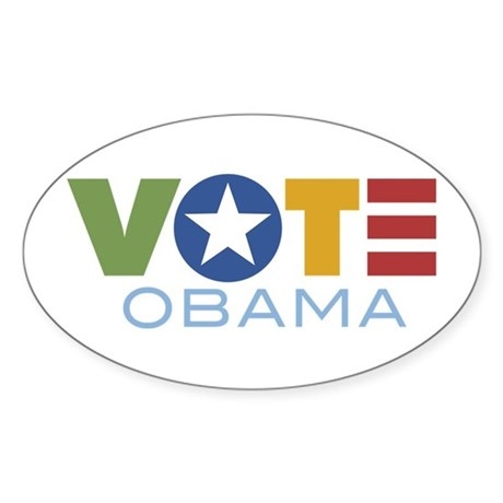 Vote Obama Oval Sticker