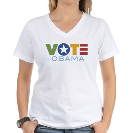 Vote Obama Women's V-Neck T-Shirt