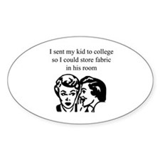 Fabric - Sent Son to College Oval Sticker (10 pk)